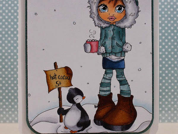 Winter Wishes card with Copic coloring, and a winner!