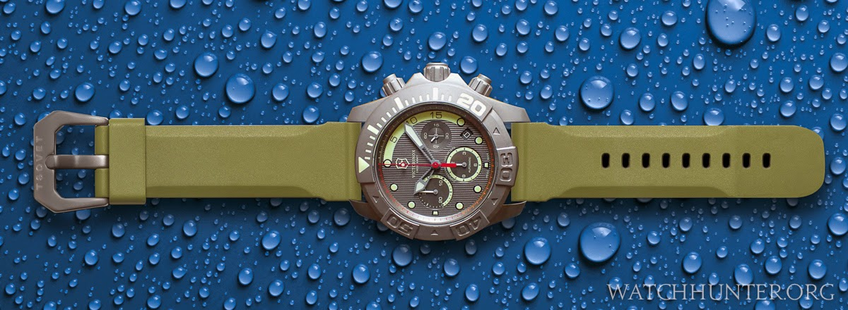 Digital rendering of Victorinox Swiss Army Limited Edition Titanium Dive Master 500 on olive green Tsovet watch band