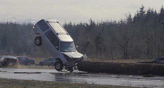 Funny pictures: Car collides with fallen tree