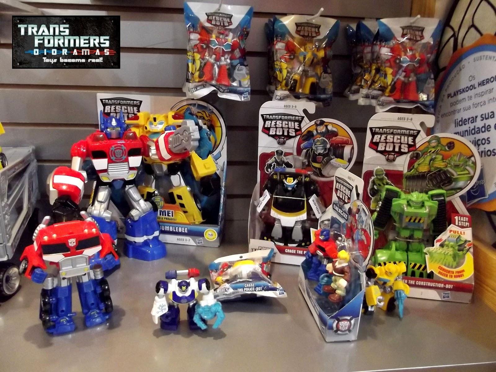 Transformers Rescue Bots e Transformers Bot Shots , alguns dos quais