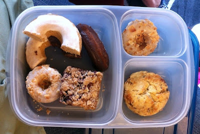 Breakfast buffet leftovers, packed to go!