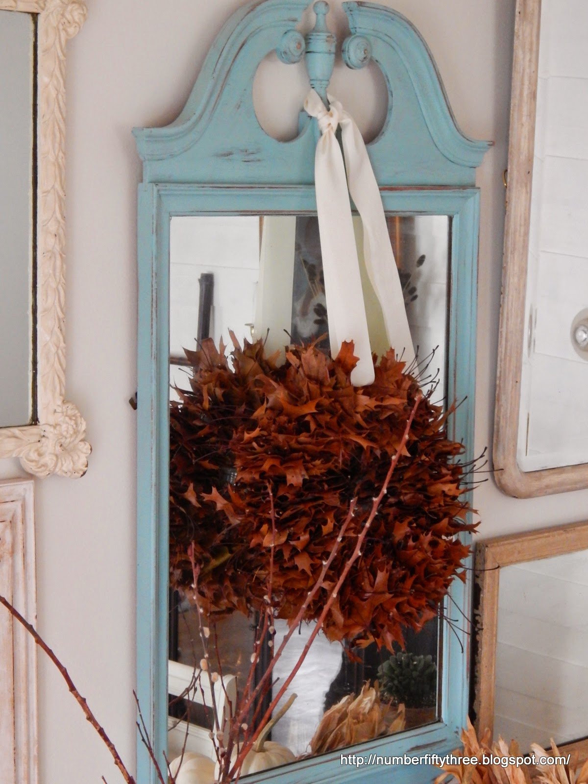 Pretty Fall wreath made with Oak leaves