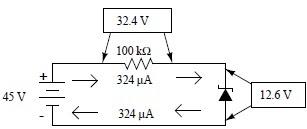 Rangkaian regulator zener dengan resistor seri 100 kΩ