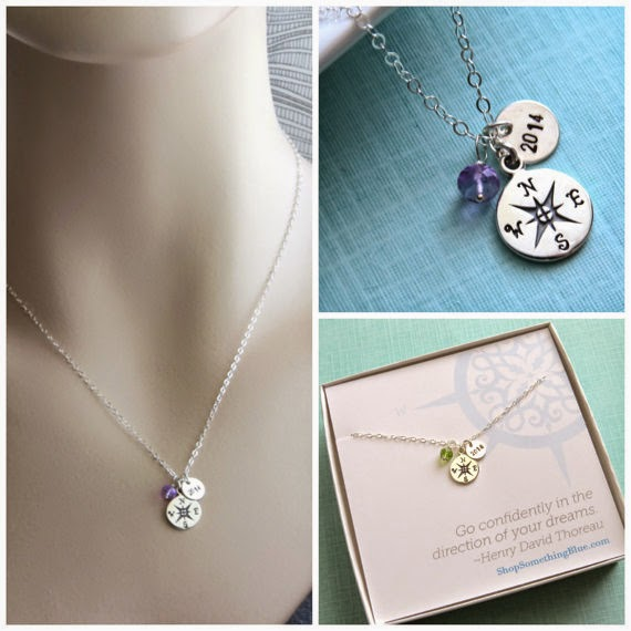 compass charm necklace with birthstone and year
