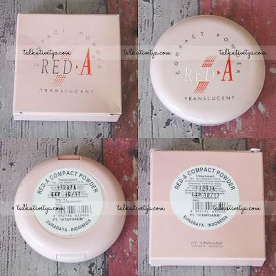 Kemasan dan desain dari RED-A Compact Powder Translucent yang didominasi warna pink lembut