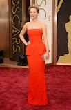 Дженифър Лоурънс в червена рокля пеплум на Диор на Оскари 2014