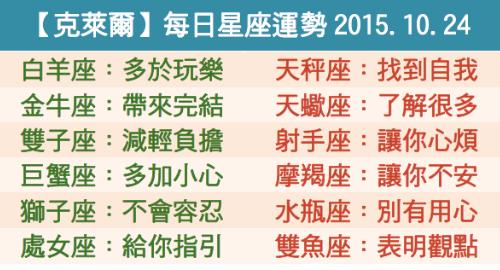 【克萊爾】每日星座運勢2015.10.24