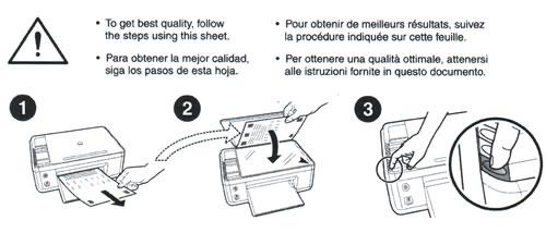 изображение Процесс печати пробной страницы и ее сканирования