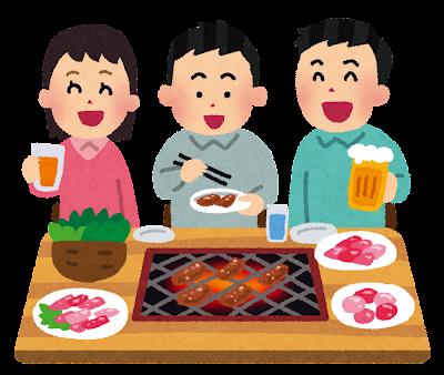焼き肉を食べている人達のイラスト