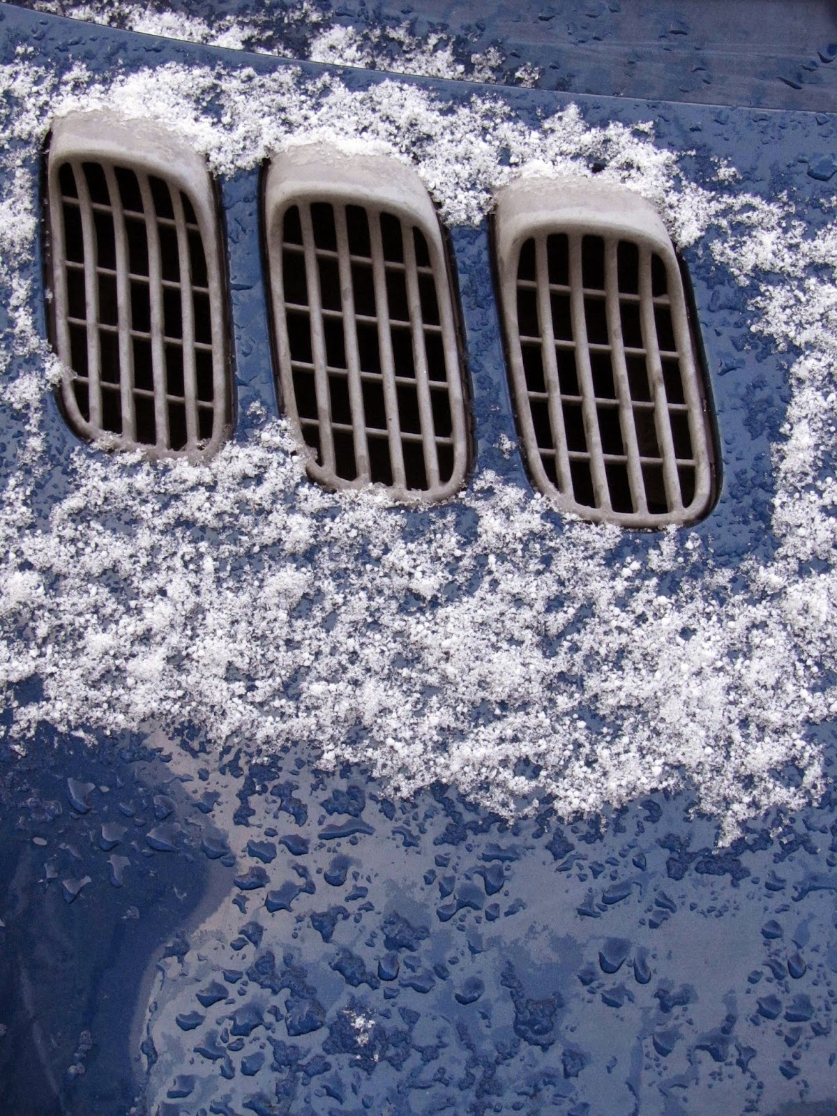 grids of blue car with snow