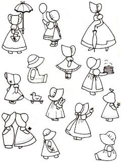 Riscos para pintura e patchwork de Meninas