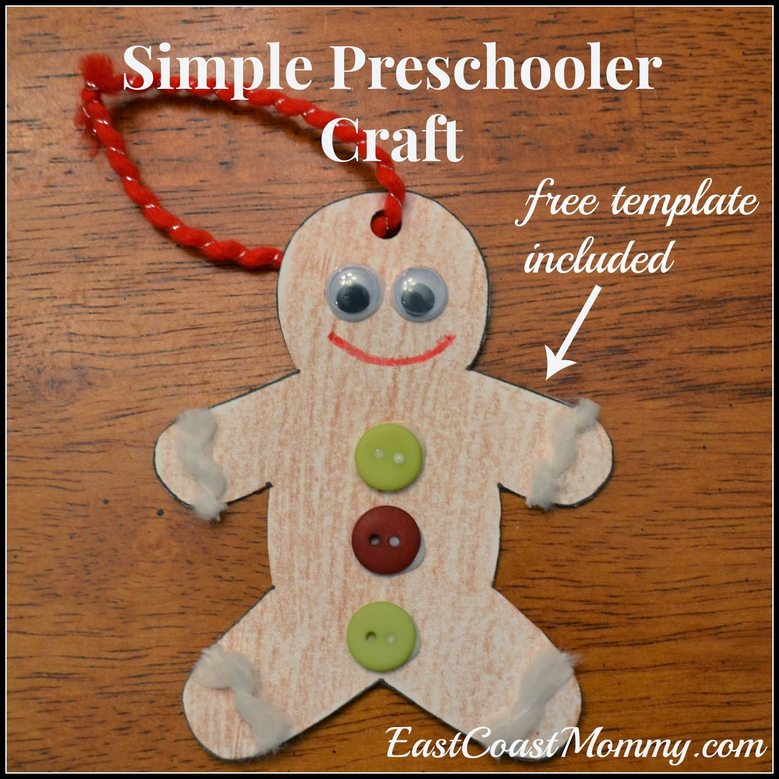 East coast mommy 5 easy christmas crafts for kids with for Gingerbread crafts for kindergarten