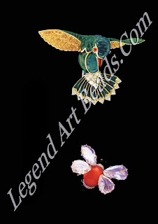 A hummingbird, brooch of black opal, enamel and white and yellow diamonds together with Verdura's original drawing 1964 below: a bee brooch made of diamonds, coral and onyx, c. 1961. Its wings are four large etched antique Indian diamonds.