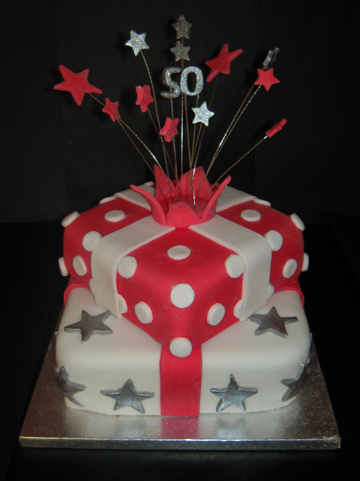 Eileen Atkinson S Celebration Cakes 50th Stacked Present