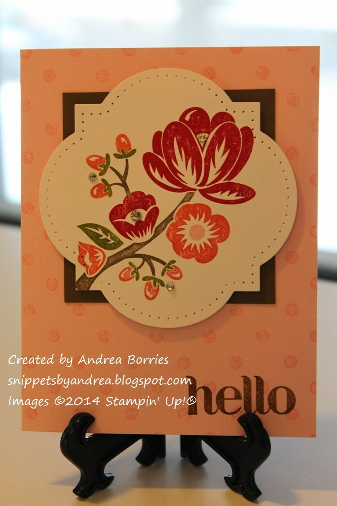 Card featuring Hey There Buds flower image cut out with Window Frame Collection Framelits dies and layered on Decorative Dots background.