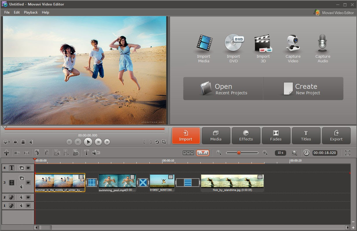 Movavi Video Editor 9 SE (PC) Screenshot.