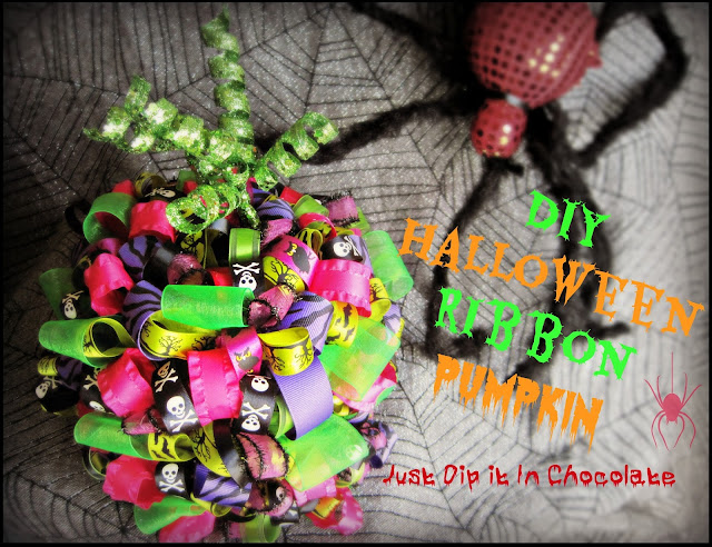 DIY Halloween Ribbon Pumpkin, a fun project in the spirit of Halloween, change the appearance of your craft store ordinary pumpkin and make it stand out with different Halloween ribbons!