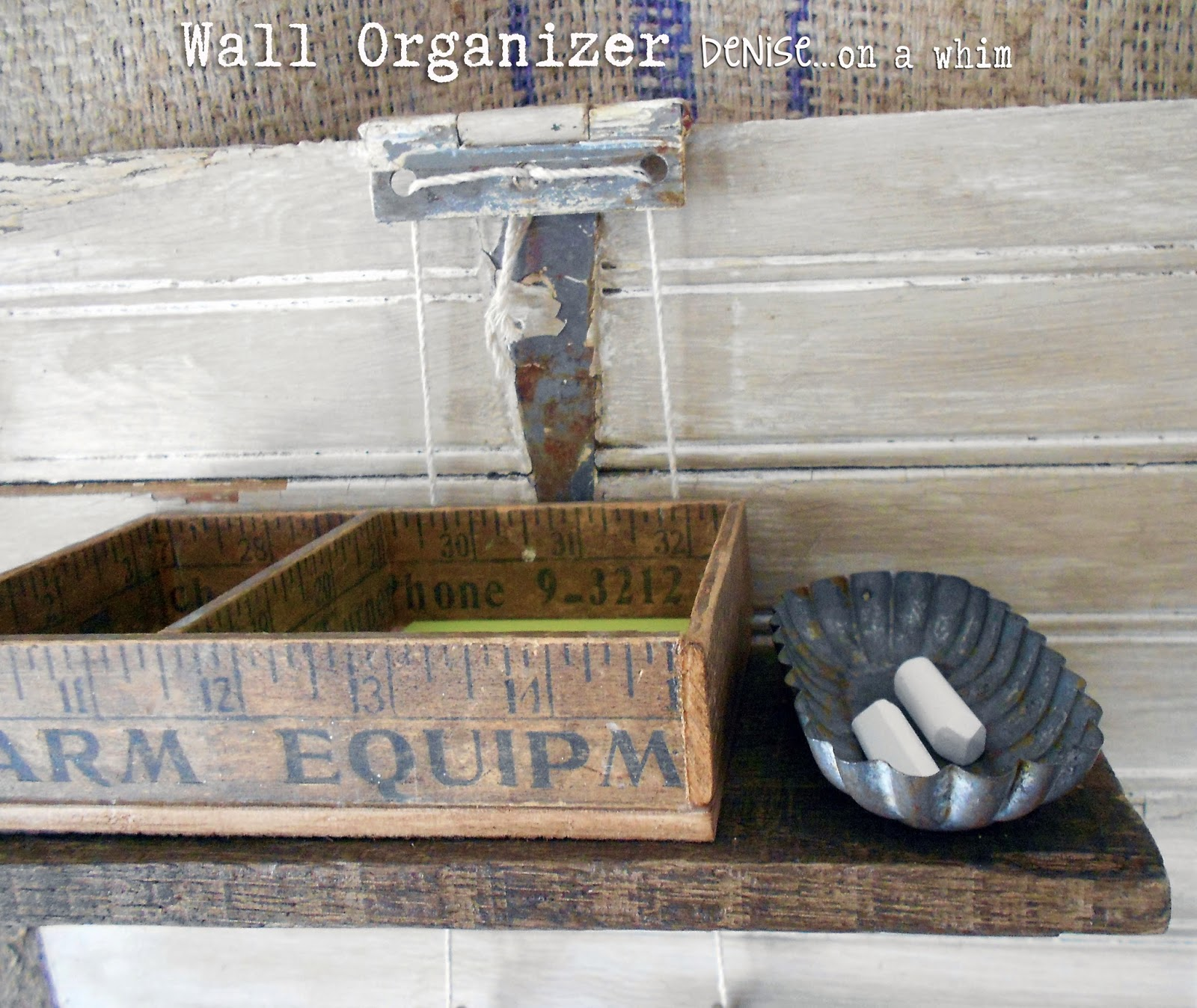 Small Vintage Tin for Holding Chalk on a Wall Organizer via http;//deniseonawhim.blogspot.com