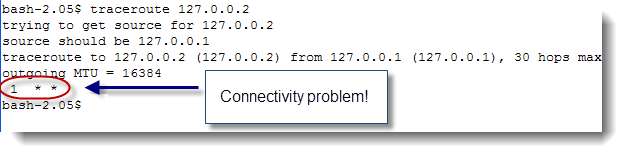 Traceroute connectivity problem