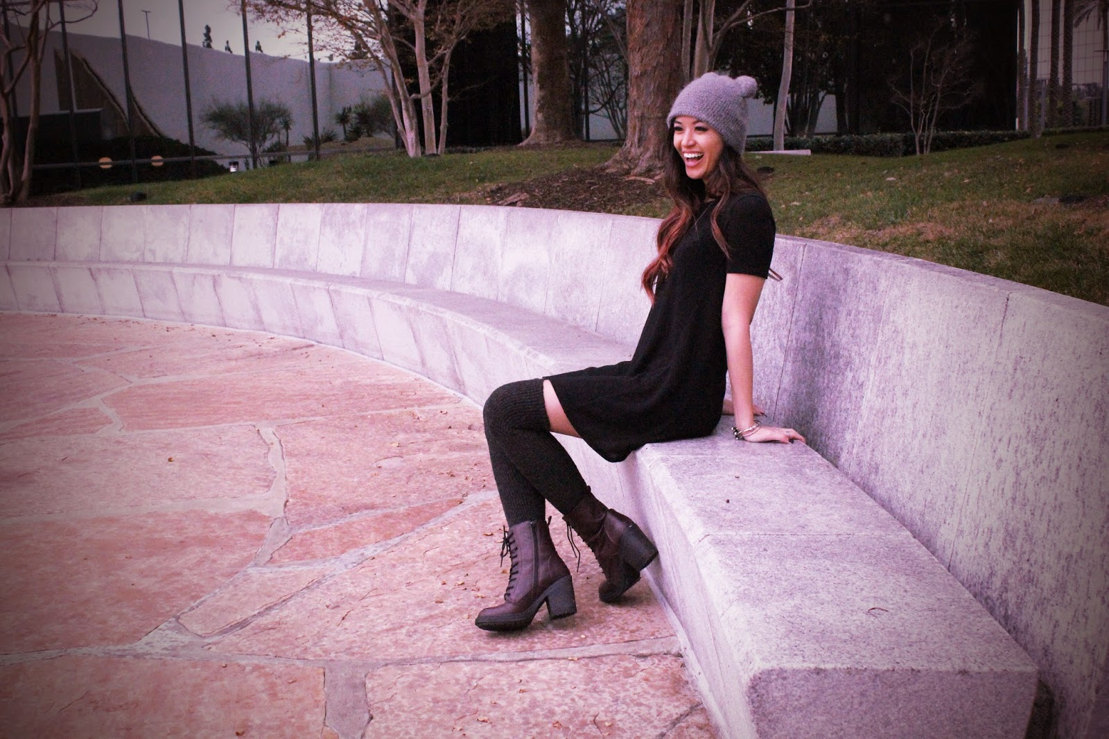 Threads n Breads :: Black Dress and Bear Beanie