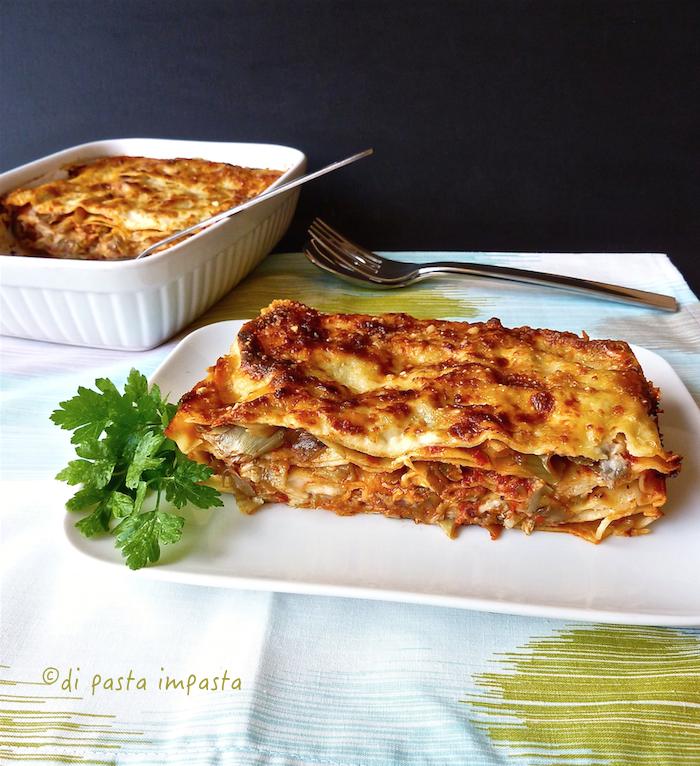 lasagne al ragù di carciofi