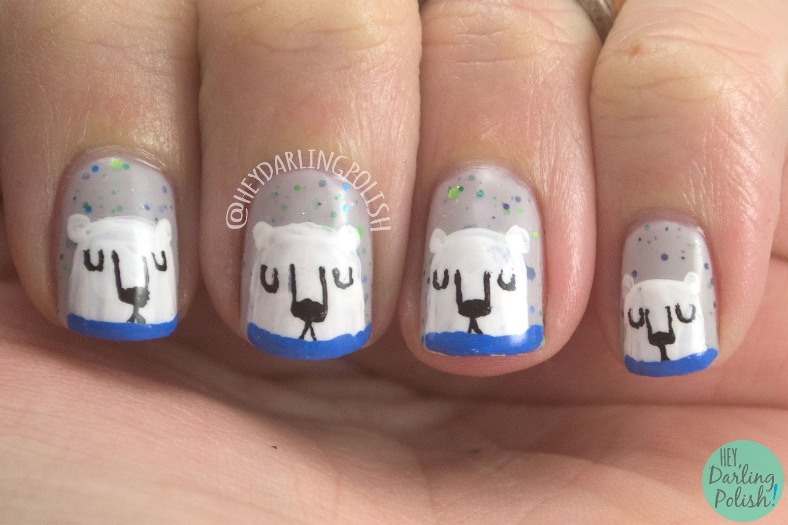 let's sleigh together, grey, polar bear, animal, winter, nail art, nails, nail polish, indie, indie nail polish, indie polish, kbshimmer, hey darling polish, winter collection 2014, holiday