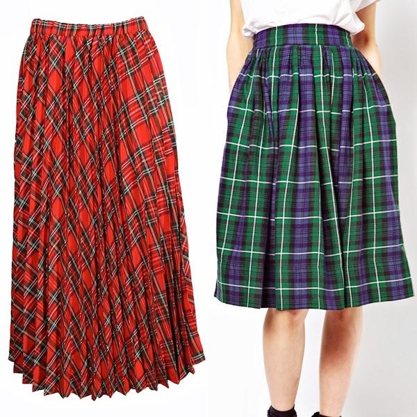 tartan midi skirts, tartan trend a/w13 trend