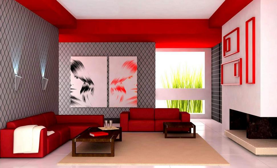 warna cat ruang tamu merah bermotif