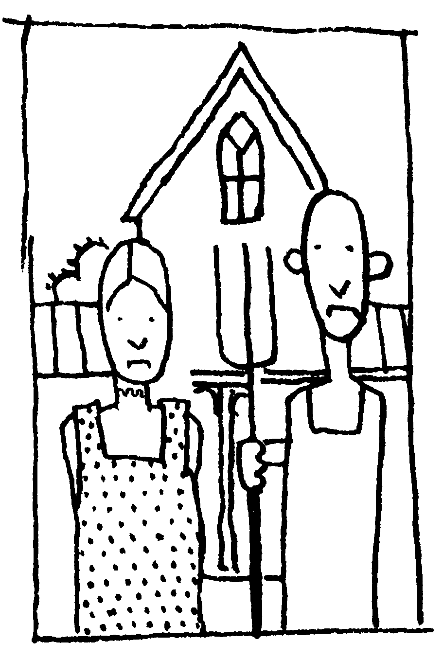 Grant wood pages coloring pages for American gothic coloring page