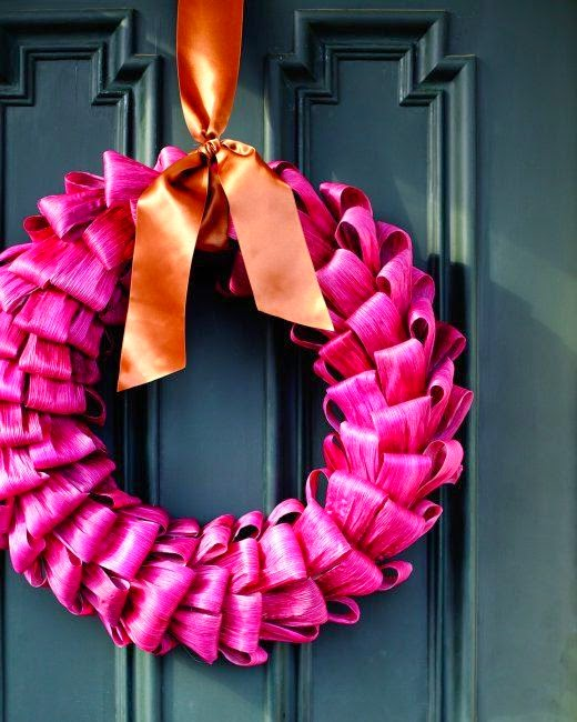 Thanksgiving in pink cornhusk wreath