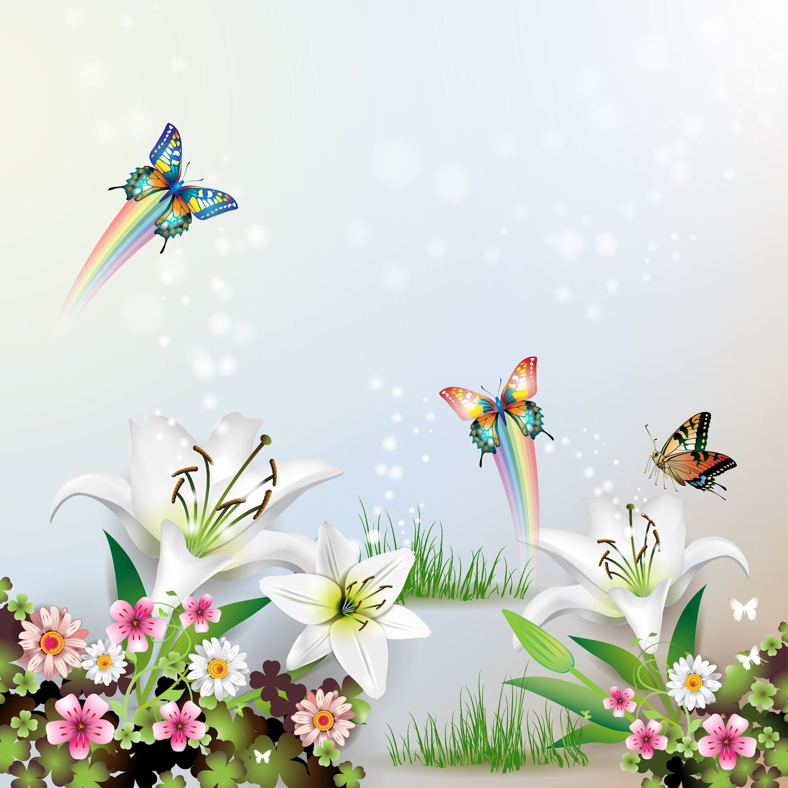 Ilustración con mariposas y flores para el fondo de tu iPad 2048x2048 ...