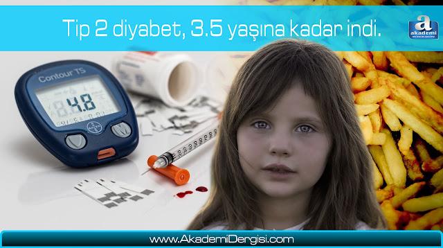 Tip 2 diyabet, 3.5 yaşına kadar indi.