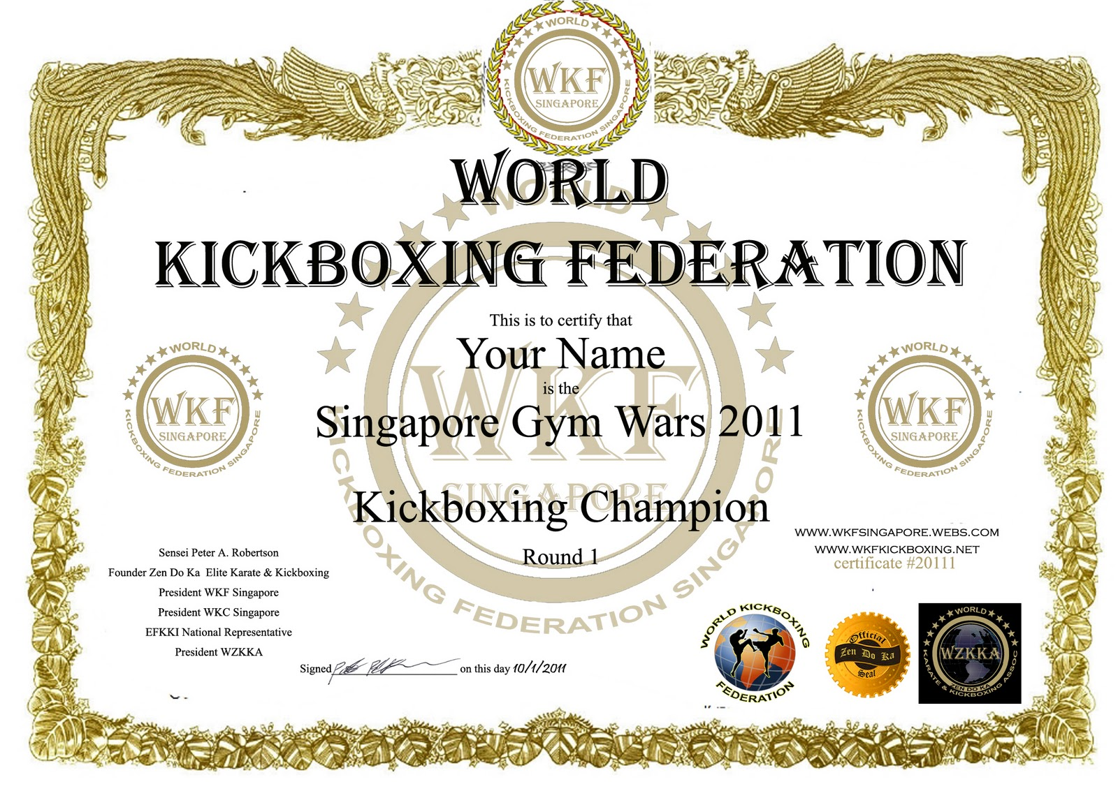Zen do ka freestyle karate kickboxing mixed martial arts singapore sample certificate above for illustration purposes only actual certificate design yet to be finalised yadclub