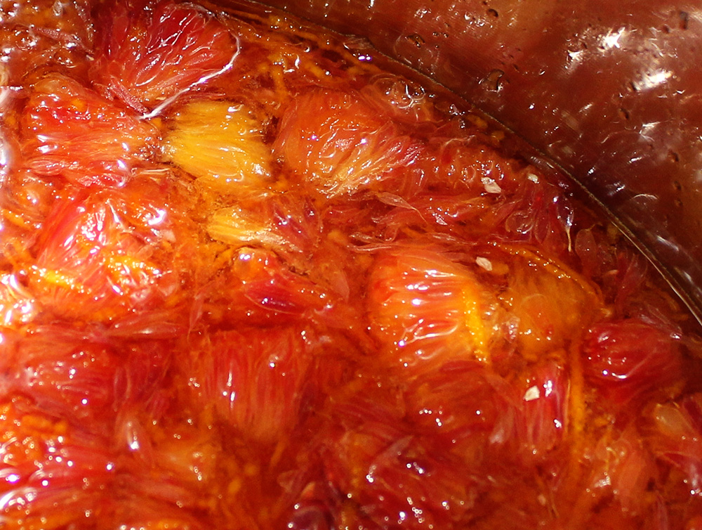 We made some plain blood orange marmalade because it was pretty ...