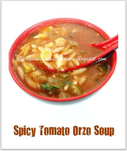 Priya's Versatile Recipes: Spicy Tomato Orzo Soup