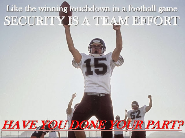 Like the winning touchdown in a football game security is a team effort
