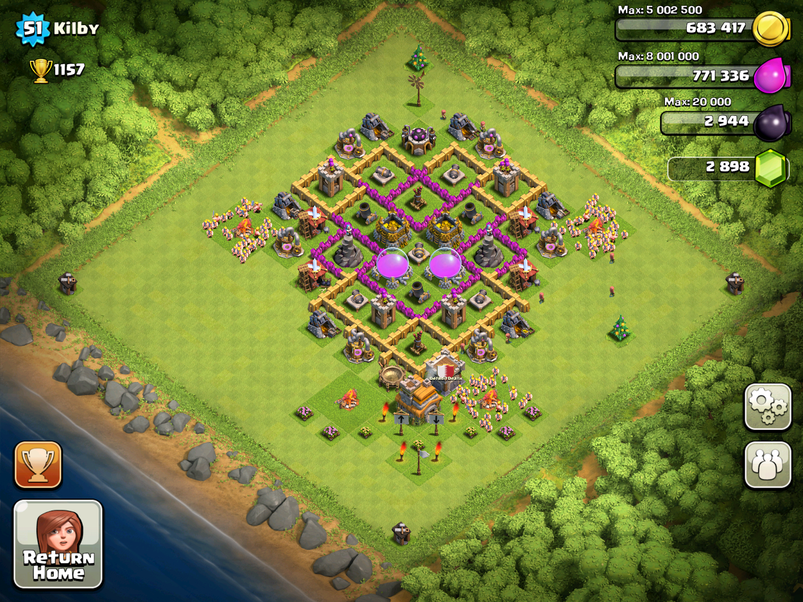 Little red dot town hall 7 farming base
