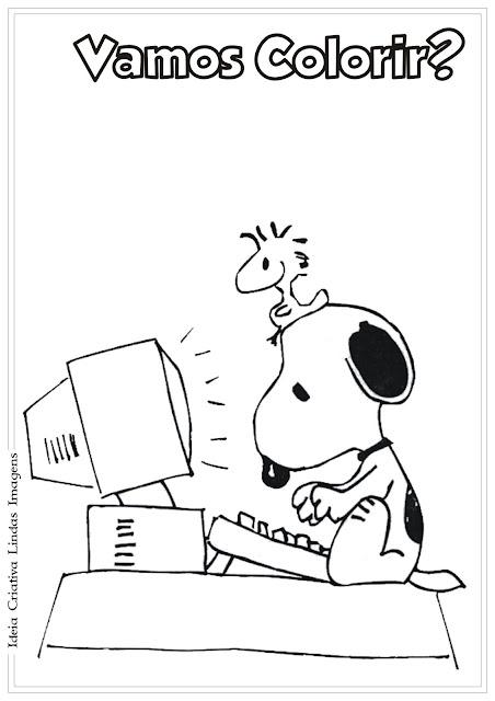 Desenho Snoopy e Woodstock no computador Peanuts para colorir