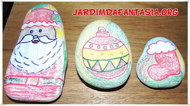 Artes Pintura em Pedras Símbolos Natalinos
