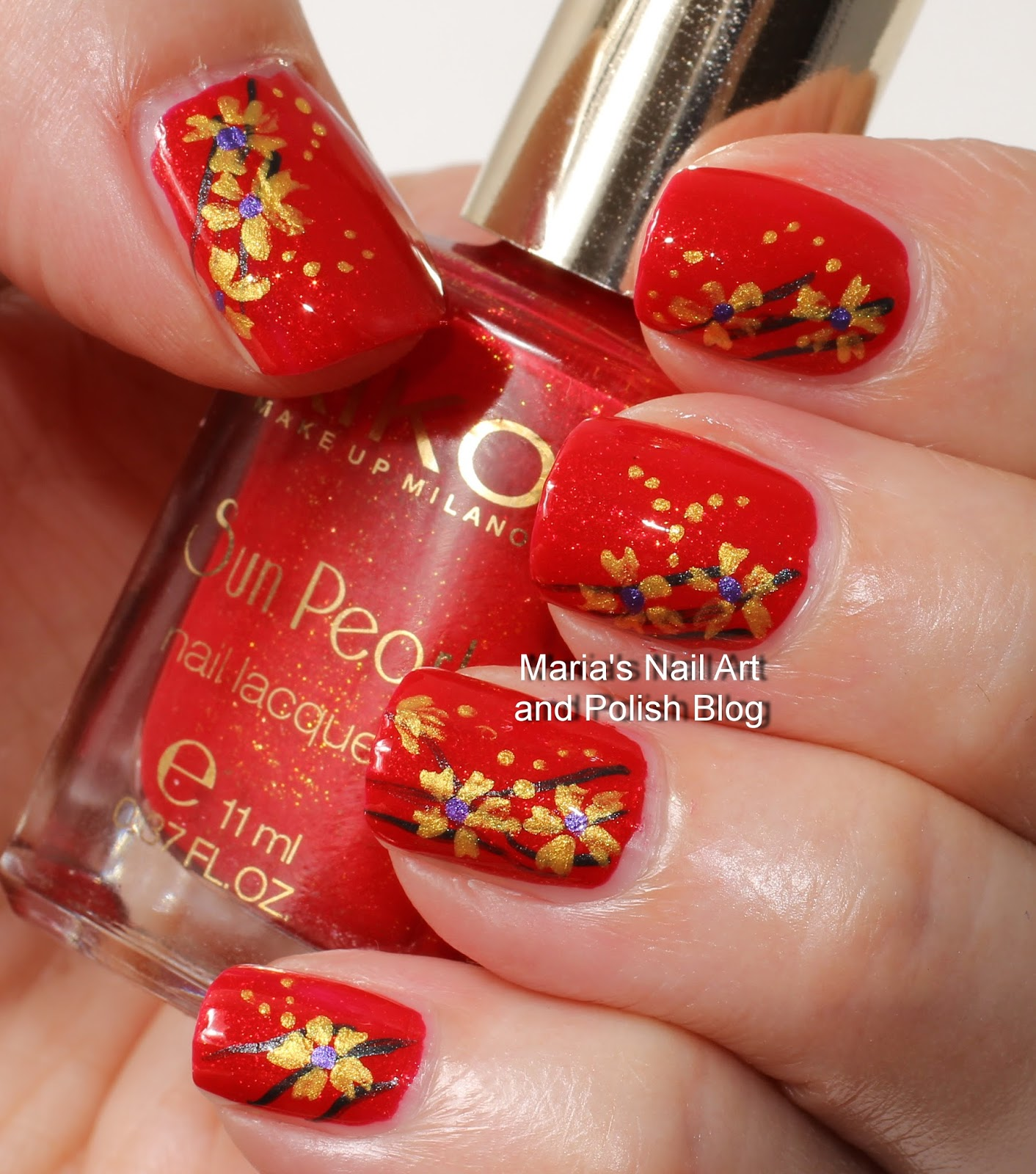 Marias Nail Art And Polish Blog Flushed With Stripes And: Marias Nail Art And Polish Blog: Golden Flowers On Sun Pearls