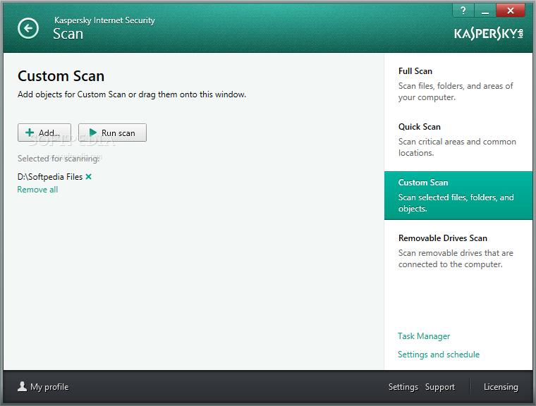 Kaspersky Internet Security screenshot 3 - Daerah Pindai perangkat lunak aplikasi akan membantu Anda memilih dari penuh, Cepat, Custom serta Removable Drives Pindai