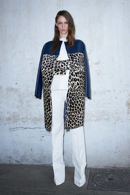 Celine Resort 2013: Colorblock coat - navy and animal print