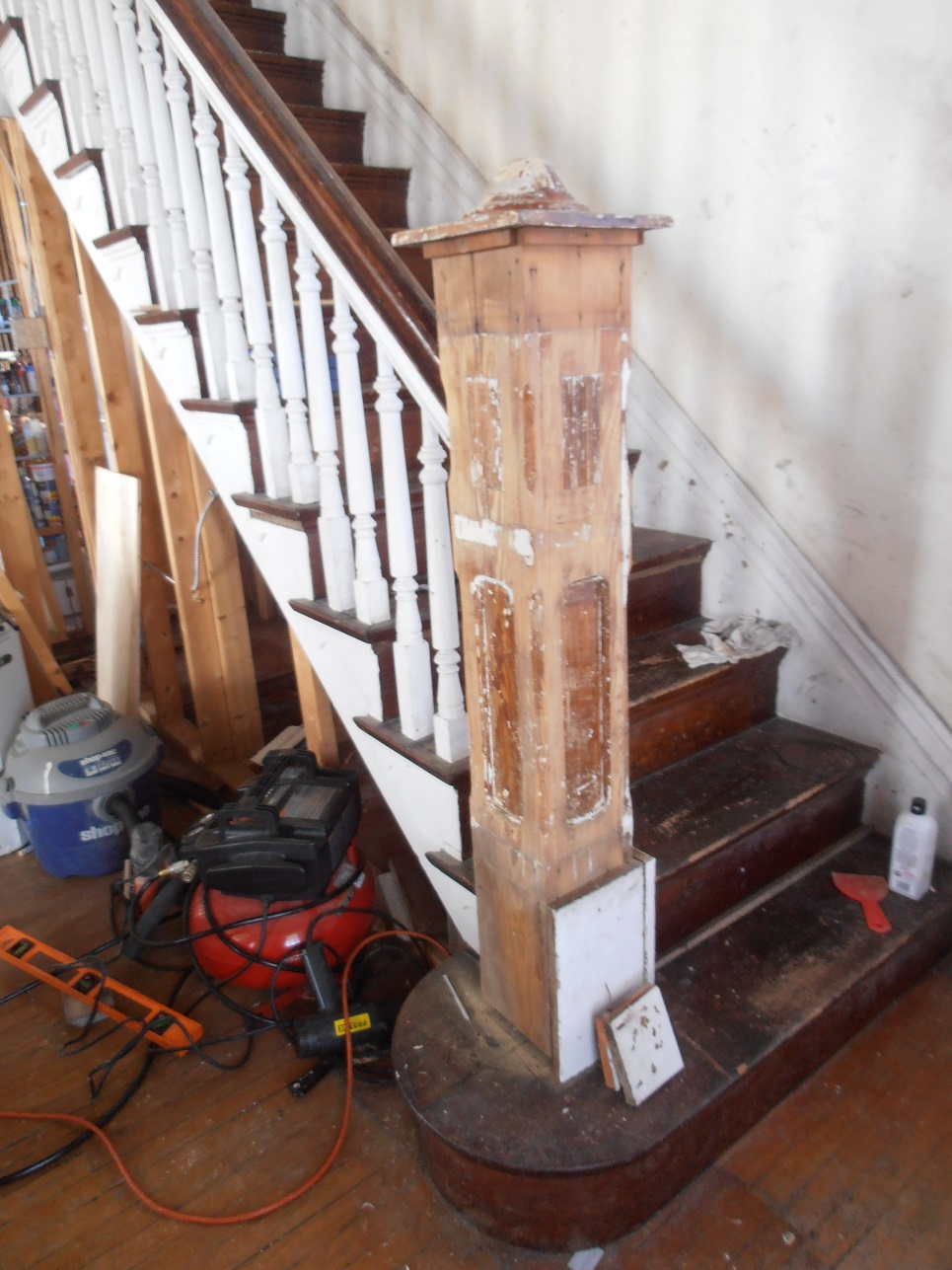 Reattached newel post