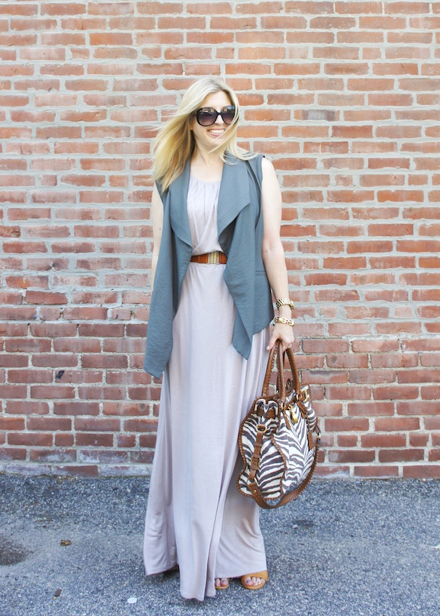 taupe maxi dress, safari vest, zebra bag