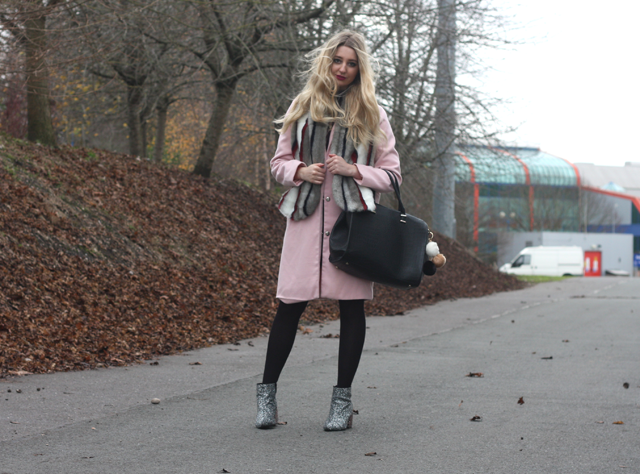 boohoo pink coat fashion blog