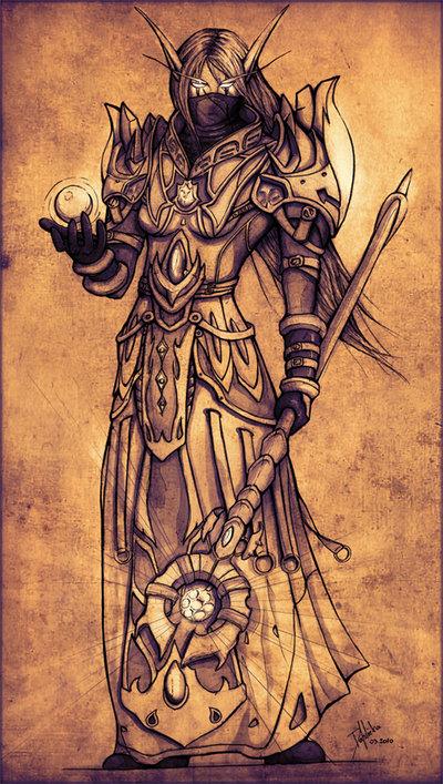 Night Elf Priestess - WoW por Dahlieka