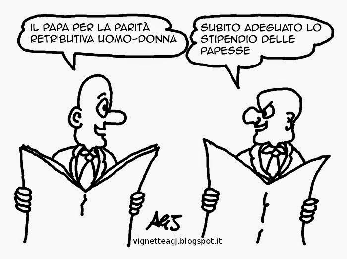 papa francesco, parità uomo-donna, stipendi, satira, vignetta