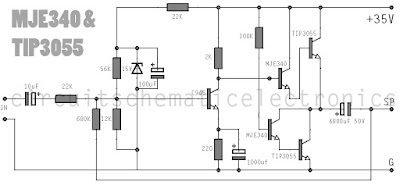 Simple Amplifier using with MJE340 TIP3055 Circuit