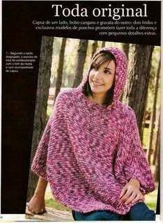 SpazioCrochet: Poncho de trico com capuz