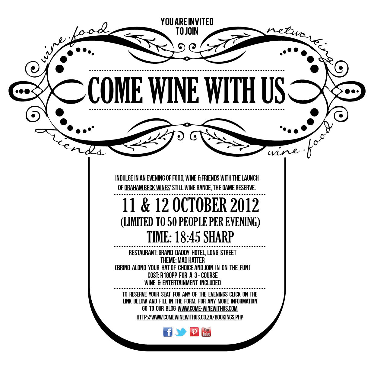 October Come wine with us – Graham Beck still wines @ Grand Daddy Hotel | CWWU GrandDaddy